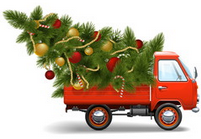 denver-colorado-christmas-tree-delivery-truck-heinies-market-free-bows-from-trimmings